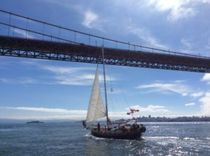 Sailing under the Golden Gate Bridge, San Francisco.